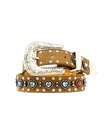 Kids Rhinestone Heart Belt