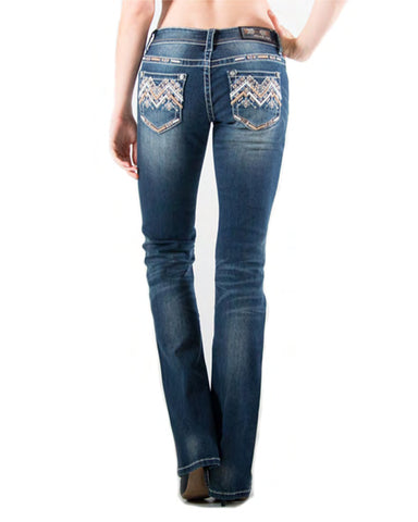 Womens Easy Fit Embroidered Jeans