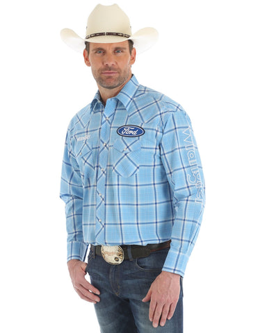 Men's Ford Logo Long Sleeve Plaid Western Shirt