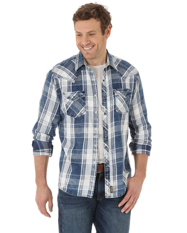 Mens Retro Western Plaid Long Sleeve Shirt - Blue