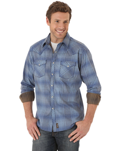 Men's Retro Western Plaid Long Sleeve Shirt - Tall