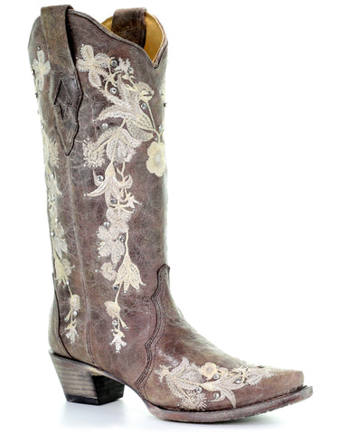 Womens Floral Embroidered Snip Toe Boots