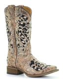 Kid's Glitter Inlays & Embroidery Square-Toe Boots - Brown
