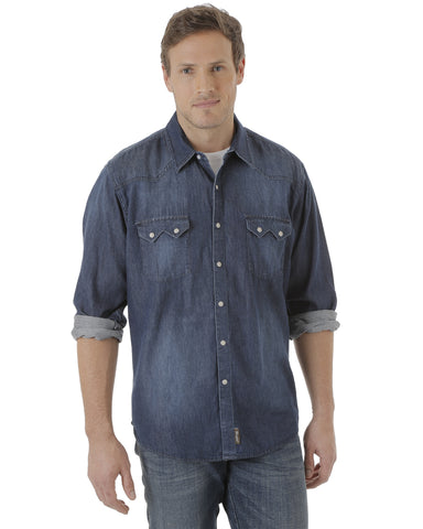 Men's Retro Denim Long Sleeve Shirt