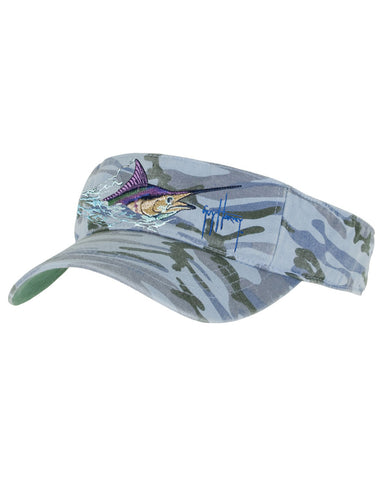 Guy Harvey's Marlin Head Visor - Blue Camo
