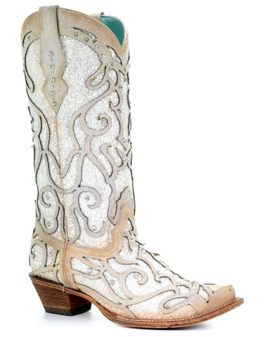 Women's Glitter & Crystal Inlay Boots - White