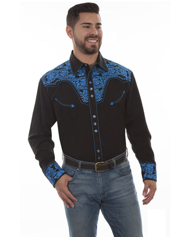 Mens Floral Embroidered Western Shirt - Royal