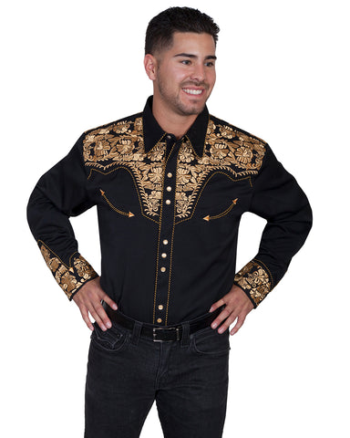 Men's Floral Embroidered Western Shirt - Gold