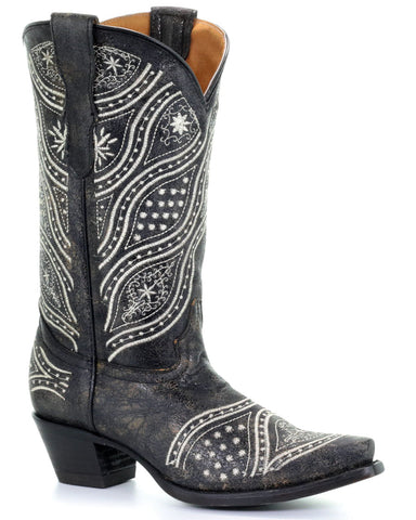 Kid's Wild Floral Embroidered Western Boots