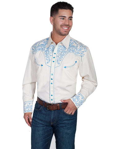 Men's Picstitch Yokes Western Shirt - White