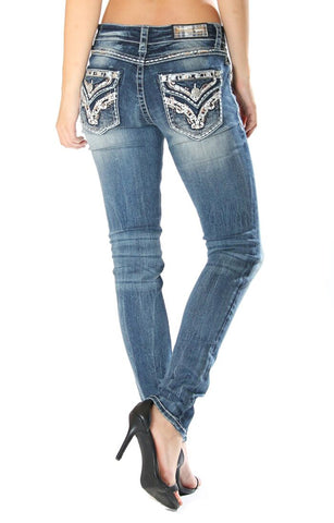 Women's Junior Fit Faux Pocket Skinny Jeans
