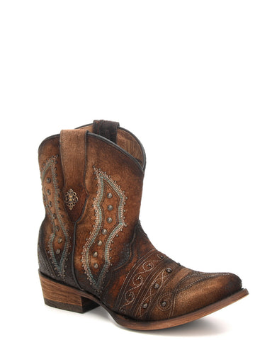 Women's Embroidered Lambskin Ankle Boots