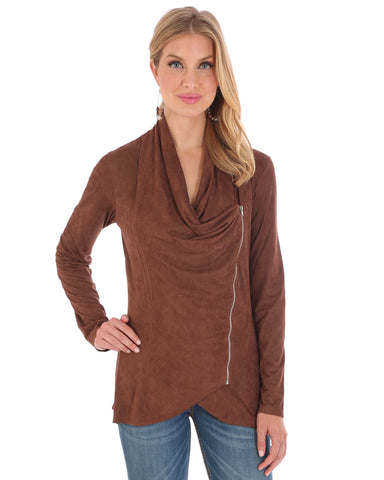 Women's Draped Faux Suede Jacket
