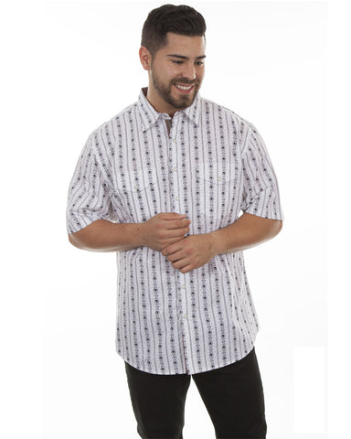 Mens Skull Stripe Short Sleeve Western Shirt - White