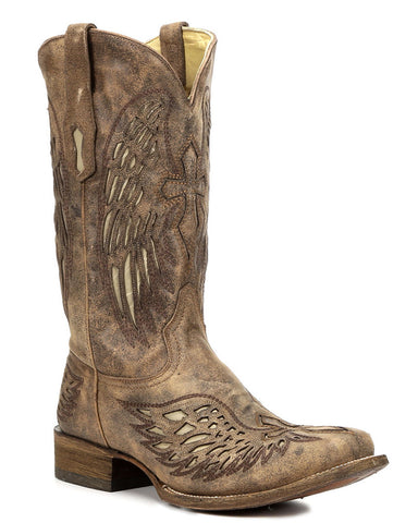 Men's Distressed Wing Inlay Boots