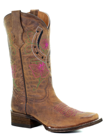 Kid's Flowers & Horseshoes Boots - Brown