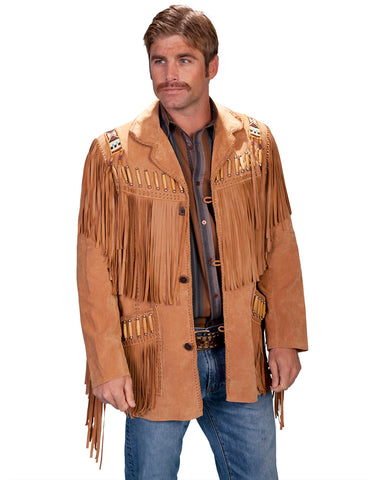 Mens Fringe Leather Jacket - Bourbon