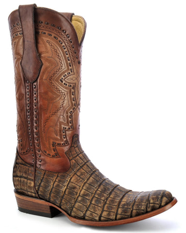 Mens Antique Saddle Alligator Boots