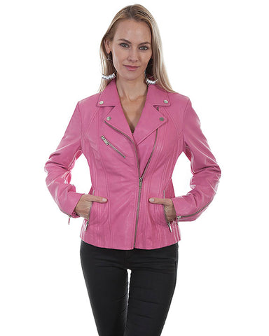 Women's Lambskin Motorcycle Leather Jacket - Pink