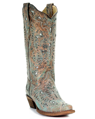 Women's Metallic Bronze Glitter Butterfly Boots