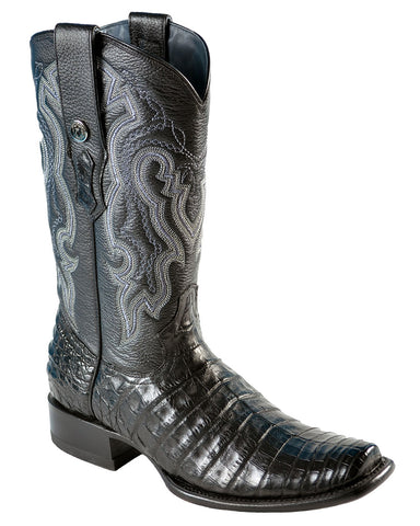 Mens Caiman Belly Boots - Black