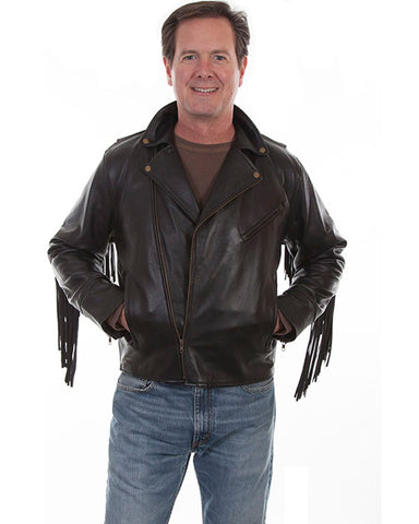 Men's Fringe Lambskin Leather Motorcycle Jacket