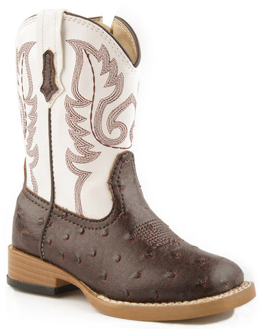 Toddler's Faux Ostrich Boots - Brown