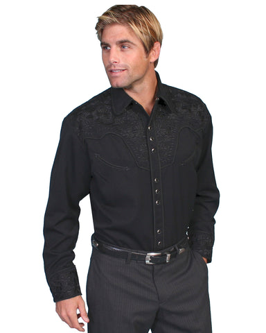 Men's Floral Embroidered Western Shirt - Jet Black