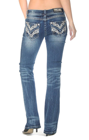 Women's Junior Fit Western Embroidered Boot Cut Jeans