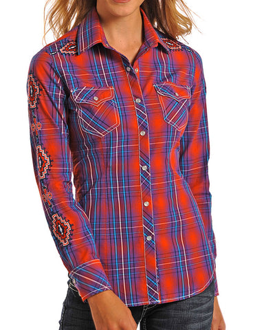 Women's Embroidered Plaid Western Shirt