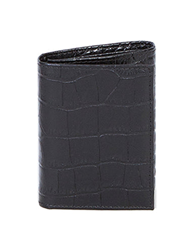 Men's Tri-Fold Crocodile Wallet - Black