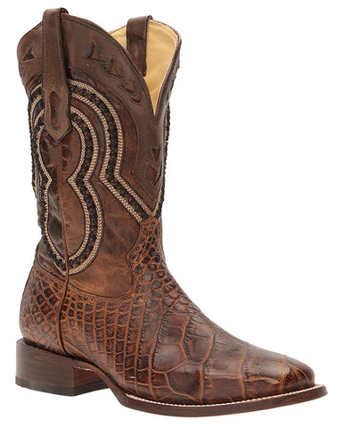Mens Wide Square Toe Alligator Boots - Brown