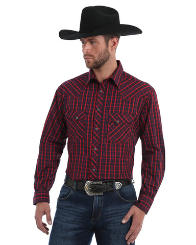 Men's Fashion Plaid Long Sleeve Western Shirt - Red / Navy
