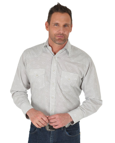 Men's Silver Edition Print Long Sleeve Western Shirt - White