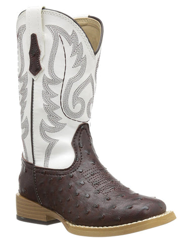 Kid's Faux Ostrich Boots - Brown
