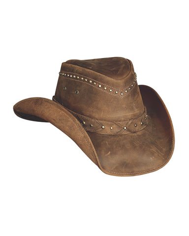Mens Burnt Dust Leather Hat