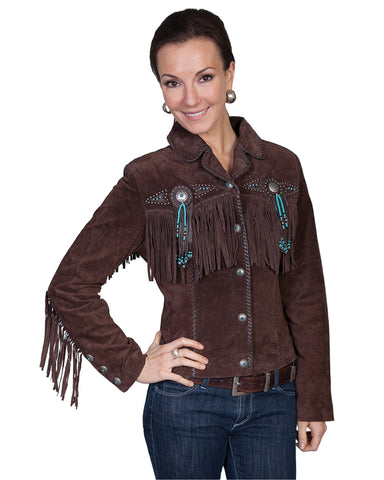 Women's Boar Suede Fringe Jacket - Chocolate
