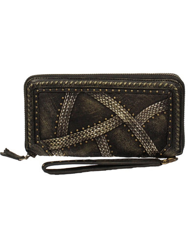 Womens Woven With Studs Wallet - Black
