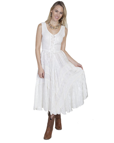 Women's Full Length Lace Front Dress - Ivory