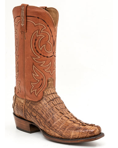 Men's Crockett Hornback Caiman Crocodile Tail Boots - Tan