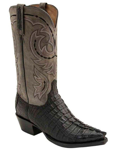 Mens Crockett Hornback Caiman Crocodile Tail Boots - Black