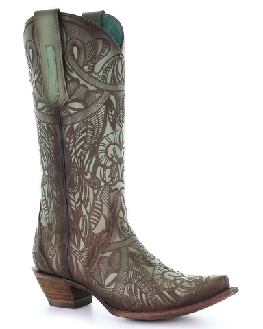 Women's Engraved Feathers Western Boots