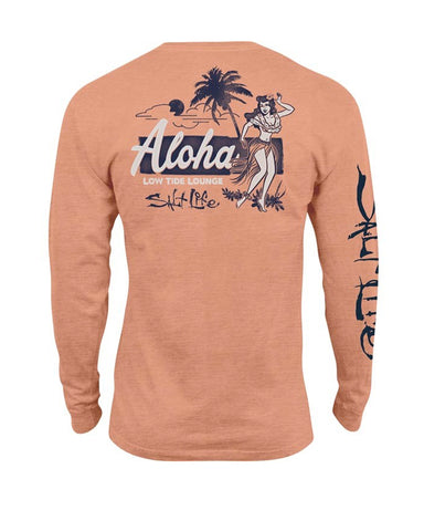 Mens Low Tide Lounge Long Sleeve T-Shirt - Grapefruit