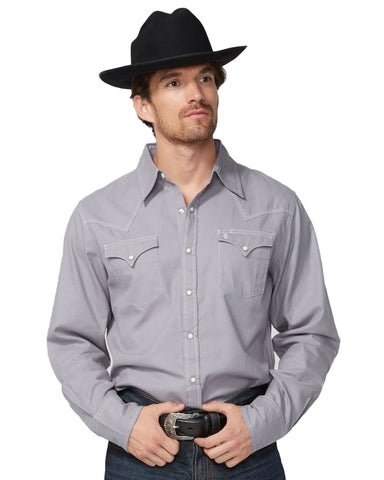 Men's Solid Twill Long Sleeve Western Shirt
