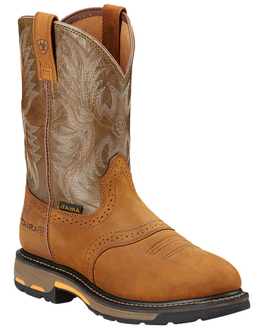 Mens Workhog Pull-On Boots - Aged Bark