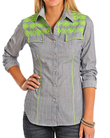 Women's Chambray Embroidered Western Shirt