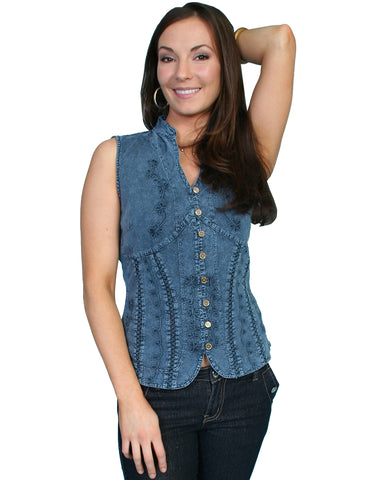 Womens Sleeveless Blouse - Blue