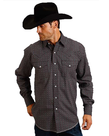 Men's Constellation Print Long Sleeve Western Shirt