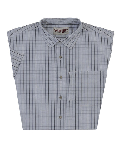 Mens Advanced Comfort Plaid Short Sleeve Western Shirt - Grey