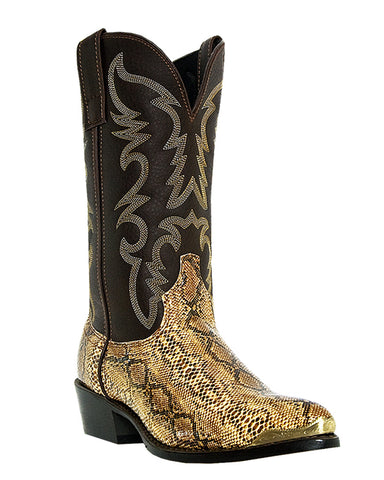 Men's Monty Snake Print Boots - Brown